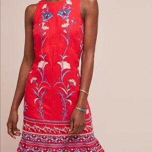 NWT Anthropologie Red embroidered shift dress